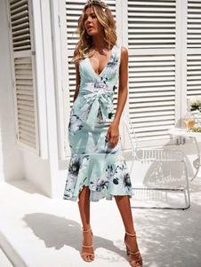 Vestido largo floral 2020 Vestido largo ajustado Vestido sin mangas con volantes en las mujeres