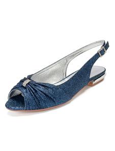 Zapatos de novia Tela-brillante Zapatos de Fiesta Plana Zapatos azul oscuro  de punter Peep Toe 1.5cm Sandalias de Noche & Sandalias de Novia