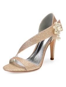 Zapatos de novia Tela-brillante 10.5cm Zapatos de Fiesta Color champaña de tacón de stiletto Zapatos de boda de puntera abierta