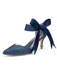 Sapatos de casamento de prata Glitter apontou Toe Bow Ankle Strap Sapatos de noiva