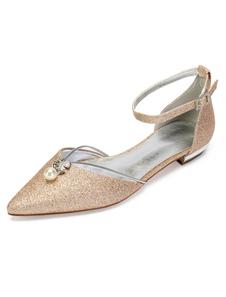 Zapatos de novia Tela-brillante 1.5cm Zapatos de Fiesta Color champaña Plana Zapatos de boda de puntera puntiaguada