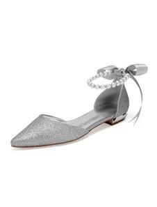Серебряные туфли невесты с блестками заостренный носок Жемчуг Свадебные туфли