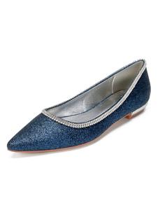 Zapatos de novia Tela-brillante Zapatos de Fiesta Plana Zapatos azul oscuro  de puntera puntiaguada 1.5cm Sandalias de Noche & Sandalias de Novia