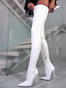 White Sexy Over The Knee Boots Pointed Toe Stiletto Thigh High Boots US size 5.5-12.5
