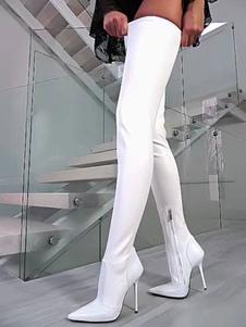 Stivali sexy bianchi Stivali a punta a punta Tacco a spillo Stivali alti a coste Tacco alto sopra gli stivali al ginocchio