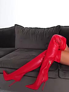 Red Thigh High Boots Острым носком Высокий каблук над сапогами Женщины Сексуальные сапоги