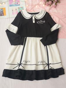 Сладкая Лолита OP Dress Love Letter Шифон Оборка Двухцветная Лолита One Piece Платье