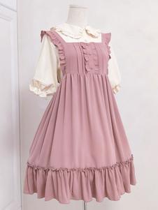 Doce Lolita JSK Vestido Irmã Mill Tea Ruffle Folho Botão Decoração Rosa Lolita Jumper Saia