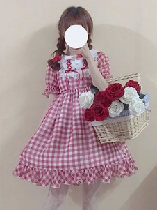 Vestido De Uma Peça 2020 Doce Lolita Op Vestido Vincy Xadrez Rendas Arco Plissado Chiffon Lolita Verão