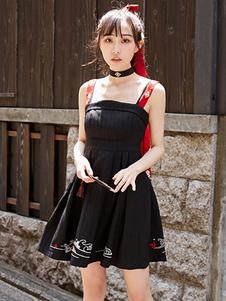 Estilo chinês Lolita JSK Vestido Bordado Dois Tons Preto Lolita Jumper Saia