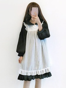 Completi Lolita 2020 Sweet Lolita Outfit Ruffle Lace Trim Colletto Peter Pan OP Vestito con Overdress