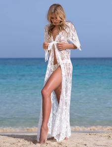 Кружева Cover Up Sheer Сексуальный пляжный купальный костюм с длинным рукавом женщин макси