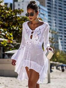 Vestido de manga larga 2020 Vestido de playa transparente con cuello en V