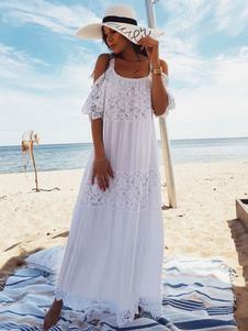 Vestido Branco Boho 2020 Mulheres Maxi Vestido Lace Meia Manga Um Ombro Vestido De Praia