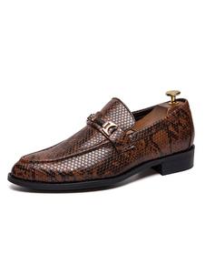 Mocassini da uomo marroni Slip On Shoes in metallo stampato con punta arrotondata