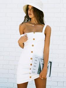 أبيض اللباس Bodycon زر حتى بلا أكمام ثوب المرأة الصيف