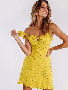 Vestido de verão amarelo mulheres vestido de verão às bolinhas babado mini vestido