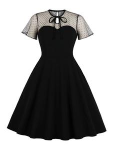 Vestido Vintage Preto 1950s Vestido De Verão De Bolinhas Manga Curta Em Torno Do Pescoço Vestido De Festa 2020