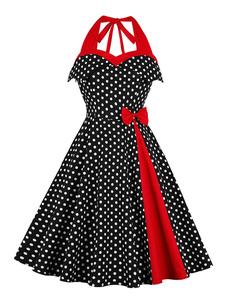 فستان أسود عتيق عام2020بولكا دوت ريترو اللباس فتح الظهر القوس مطوي دبوس حتى اللباس