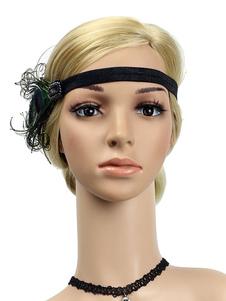 عيد الرعب1920s العظمى غاتسبي عقال الريش النساء الزعنفة أغطية الرأس اكسسوارات للشعر الرجعية