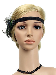 Disfraz Carnaval 1920 Gran Gatsby diadema plumas mujeres Flapper tocados accesorios para el cabello retro Halloween Carnaval