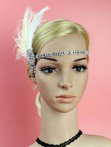 Disfraz Carnaval 1920 gran Gatsby diadema Flapper tocados de plumas Rhinestone mujeres Retro accesorios para el cabello Halloween Carnaval