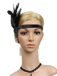 Disfraz Carnaval Accesorios para el cabello retro 1920s Gran Gatsby Diadema Rhinestone Mujeres Flapper Headpieces Halloween Carnaval