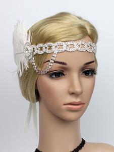 عيد الرعبريشة الزعنفة عقال أحجار الراين 1920s غاتسبي العظمى أغطية الرأس النساء خمر اكسسوارات للشعر