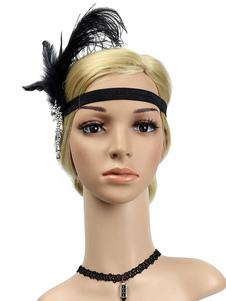 Disfraz Carnaval Flapper Headpieces Feather Mujeres Retro Accesorios para el cabello 1920s Gran diadema Gatsby Halloween Carnaval