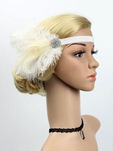 Disfraz Carnaval Flapper Headband 1920s Great Gatsby Headband Feather Mujeres Accesorios para el cabello retro Halloween Carnaval