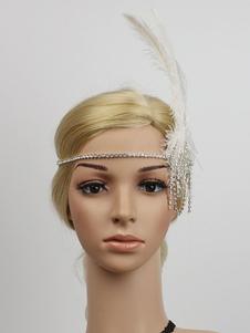 عيد الرعباكسسوارات الشعر الرجعية عام2020 غاتسبي العظيم 1920sعقال حجر الراين ريشة النساء الزعنفة أغطية الرأس