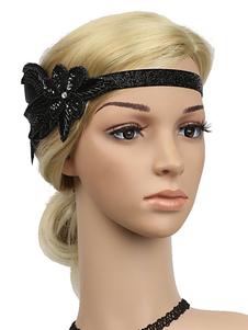 Disfraz Carnaval Flapper Headband 1920s Gran Gatsby Headband Lentejuelas Plumas Mujeres Retro Accesorios para el cabello Halloween Carnaval