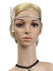 Disfraz Carnaval Flapper Headpieces Rhinestone Mujeres 1920s Gran Gatsby Diadema Retro Accesorios para el cabello Halloween Carnaval