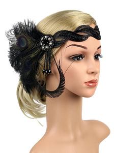 عيد الرعبريشة الزعنفة أغطية الرأس 1920s غاتسبي العظيم عقال النساء اكسسوارات للشعر الرجعية