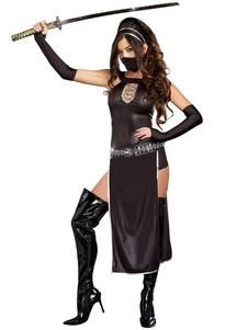 عيد الرعبكرنفال النينجا حلي قناع أسود أغطية الرأس ليكرا دنة المرأة النينجا مجموعة هالوين العطل ازياء