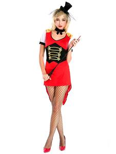 Traje de circo do Carnaval Traje Conjunto de Gargantilha Vermelho das Mulheres de Poliéster Mágico Feriados Trajes Halloween