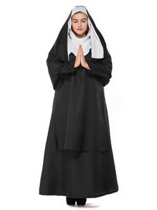 Costume Carnevale Black Halloween Costume Hood Dress Polyester Women Nun Set Costumi feste di  Costume Carnevale