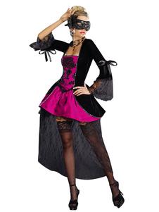 Costume Carnevale Black Halloween Costumes Lace Polyester Women Vampire Mardi Gras Set Festività Costumi