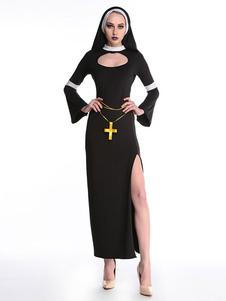 Хеллоуин Костюм Черное Платье Капюшон Полиэстер Женщины Монахиня Набор Марди Гра Праздничные Костюмы Хэллоуин