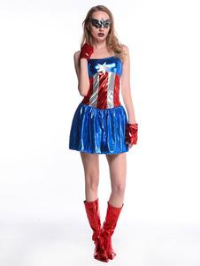 Костюмы на Хэллоуин Перчатки Комбинезон Искусственная кожа Женщины Капитан Америка Набор Праздничные костюмы