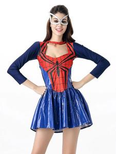 Costume Carnevale Costume di Halloween Abito in poliestere Donna Spiderwoman Mardi Gras Set vacanze Costumi