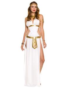 Белая Богиня Костюмы Женщины Полиэстер Набор Греческая Богиня 3 Шт. Сексуальные Костюмы Хэллоуин