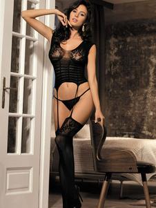 Женское черное нижнее белье из эластичного кружевного кружева