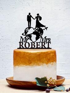 Decorações personalizadas da festa de anos do casamento dos chapéus de coco do bolo