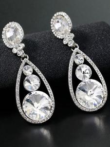 أقراط الزفاف أحجار الراين الفضية مثقوب مجوهرات الزفاف