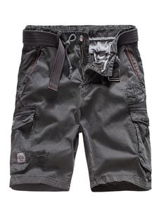 Серые карго шорты Мужские хлопковые карманы повседневные шорты