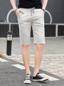 Calça casual de algodão com cordão elástico na cintura