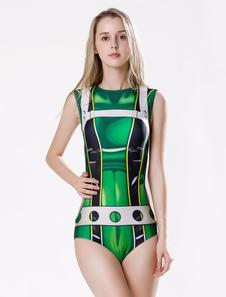 Costume Carnevale Costume da bagno monokini 2020 Supereroe Costume Zentai Boku No Hero Academia BNHA Tsuyu Asui Froppy Green Stampato  Costume Carnevale