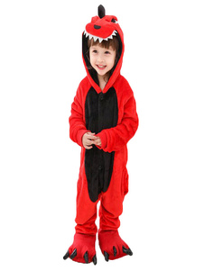 Пижамы Onesie Kigurumi Красный Динозавр Малыш Фланель Легкий туалетный комбинезон Хэллоуин
