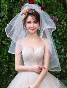 Véu de noiva Cachoeira Marfim One Tier Tulle Oval véus de noiva